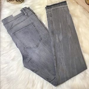 ZARA TRAFALUC WOMEN GRAY SKINNY DISTRESSED JEANS